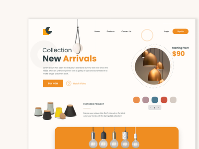 Lamp Web UI ux ui design ui lamp web design website landing page homepage uidesign ui minimal design