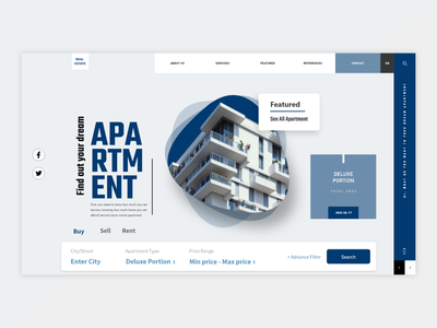 Real estate landing page ux innovation design uidesign ui minimal clean real estate home rent housing apartment home product property