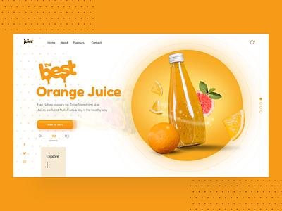 Juice Landing Page popular shot trendy products webdesign web header modern product page food juice pulp slice orange landing page uidesign ui minimal design
