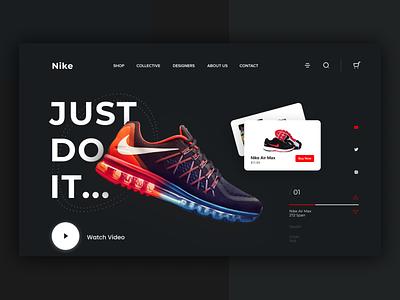 Nike Landing Page fashion store shoe nike website web page template freelancer interface trendy uiux branding popular shot landing page uidesign design ui minimal