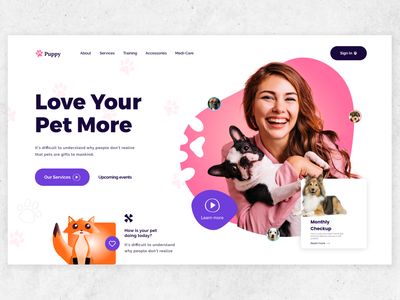 Pet Care Web UI home page design product product designer web design interface uidesign landing page homepage pet care