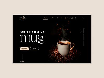 Coffee Web UI shop coffee 2021 branding popular shot trendy header landing web site website homepage ux dark ui landing page uidesign design ui