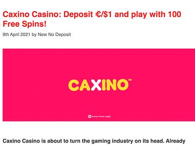 CAXINO Casino Review casinoreview casino games casinodesign casinobonus