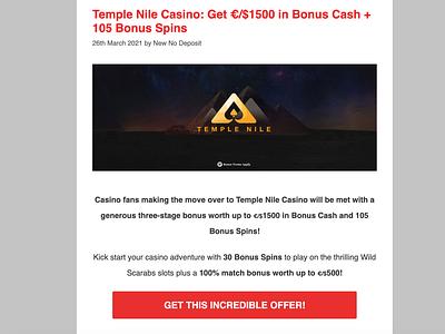 Temple Nile Casino Bonus & Review casino review design casino games casino bonus casinobonus