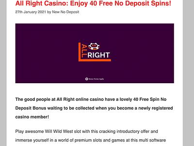 All Right Casino 40 Free Spins Offer casino bonus casinoreview casinodesign casino games casinobonus