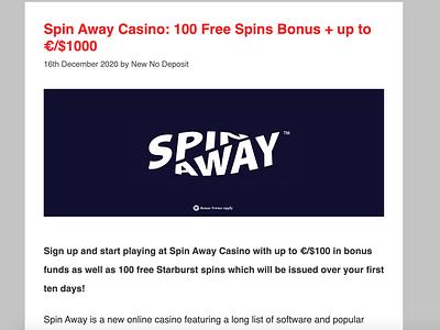 Spin Away Casino Bonus + Review casino review casino bonus casinoreview casinodesign casinobonus casino games