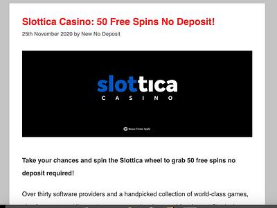 Slottica Casino 50 Free Spins casinoreview casinodesign casinobonus casino games