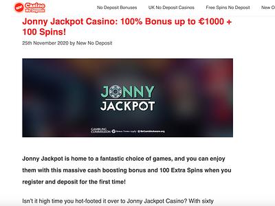 Jonny Jackpot Casino Review/Bonus casinoreview casinodesign casinobonus casino games