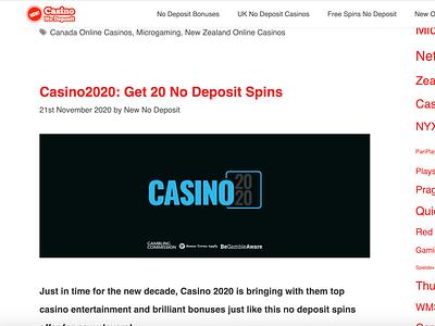 Casino2020 No Deposit Spins casinoreview casinodesign casinobonus casino games