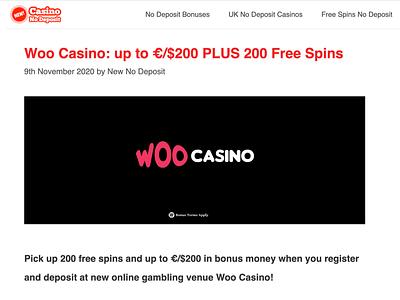 Woo Casino Welcome Bonus casinoreview casinodesign casinobonus casino games