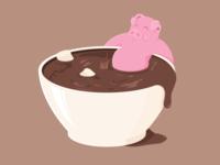 Chocolate bathing piggy