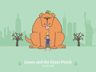 James and the Giant Pooch - Social Media Pun Illustrations roald dahl dog illustration cute dog james and the giant peach dog puns illustration