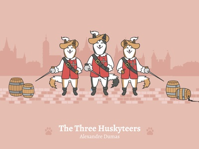 The Three Huskyteers - Social Media Pun Illustrations dog illustration cute dog the three musketeers dog puns illustration