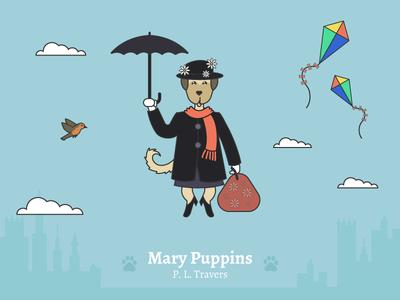 Mary Puppins - Social Media Pun Illustrations dog illustration cute dog disney illustration mary poppins dog puns illustration disney