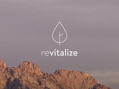 Revitalize logo mark branding revitalize health wellness mountains