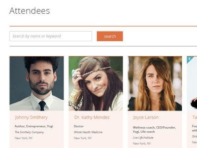 revitalize - attendees page revitalize website conference web design