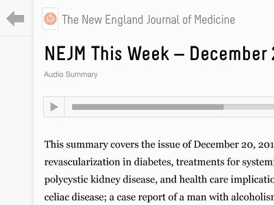 docwise - audio story view docwise doctors ipad app medical reading ereader articles news journals ios audio audio player