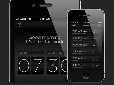 Alarm App alarm dark iphone ui app ios