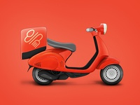 MyMenu mymenu order food meal red modep scooter web icon illustration delivery service