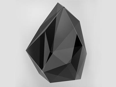black crystal crystal form edge origami logo 3d logotype black noir icon