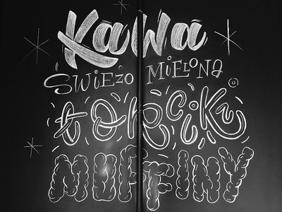 Kawiarnia Łyskawa branding lettering cafe cakes chalkboard letters chalk coffee