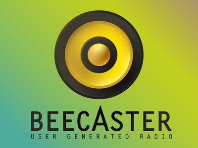 Beecaster black and yellow stripes brand gradient vector broadcast bee speaker