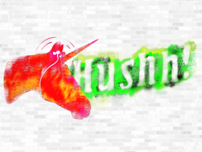 Hushh! grunge neon spray paint unicorn ear buds branding logo illustration