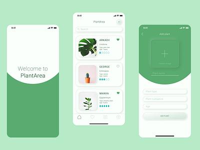 PlantArea app design ux ui