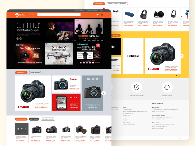 E-commerce Camera & Gadget desktop website concept interfacedesign ui website online shop landingpage homepage gadget camera ecommerce