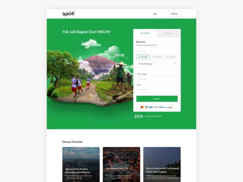 WALHI Donation Page donator member data payment ngo community environmental indonesia jakarta donate donation walhi website landing page