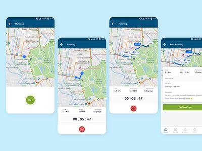Bogor City of Runners App Concept: Running flow maps interface design ux ui runner mobile app sport community mobile app bogor city city branding runner app running runner run