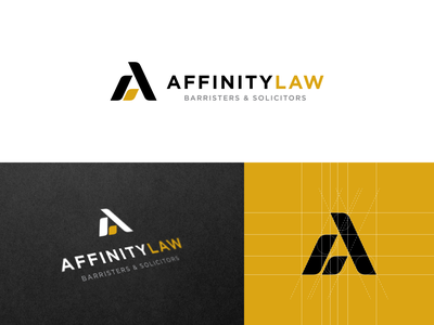 Affinity Law Logo graphic design creative rebranding branding brand law affinity yellow identity business insurance consultant islamic finance canada corporate simple logo law logo