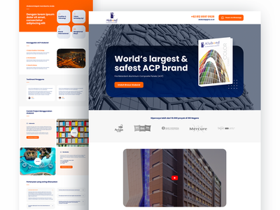 Alubond Landing Page orange clean indonesia jakarta web website company corporate identity company ux ui architecture panel aluminium landing page website