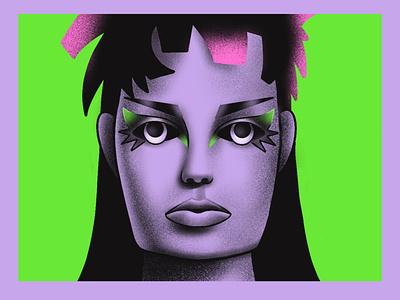 Punk girl illustration green illustration punkillustration textured illustration purple punk punkgirl procreate portrait fashion illustration