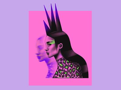 Punk girl purple violet punk punkgirl punkillustration fashion illustration textured illustration procreate portrait illustration