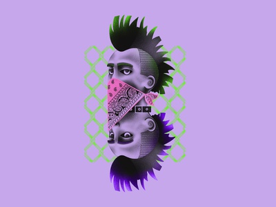 Punks green violet fashion illustration design punkillustration punk portrait procreate textured illustration illustration