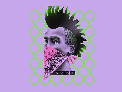 Punk design green violet fashion illustration punkillustration punk textured illustration procreate portrait illustration