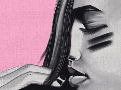 Portrait oil (b&w) oil fashion illustration procreate portrait illustration