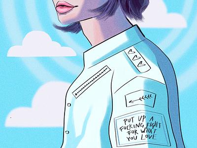 Shaggy girl blue sky fashion illustration procreate portrait illustration