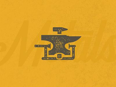Metals Mark Exploration smithing metal hammer anvil symbol design branding brand mark icon logo