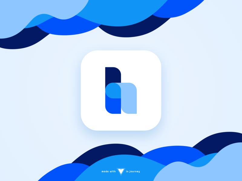 Application Logo blue wave illustartion logo icon app icon app daily ui daily ui 005