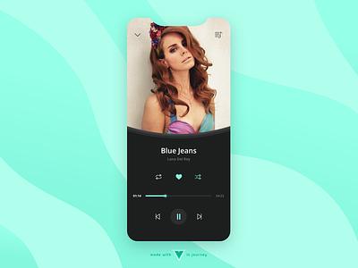 Music Player lana del rey dark app pattern wave green ui. music player ui music player music app