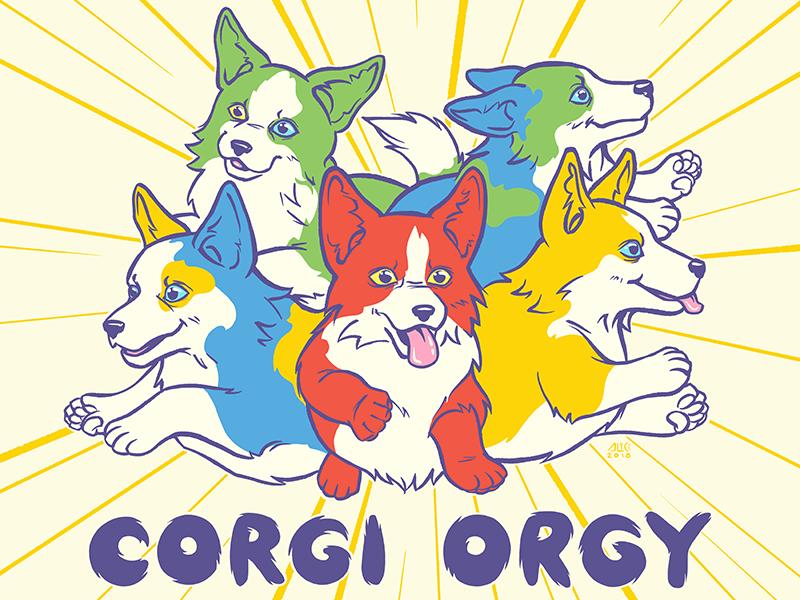 Corgi Orgy corgis animals dogs ipad illustration procreateclub procreate