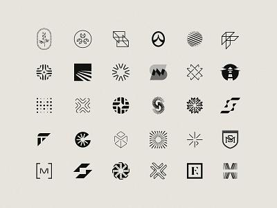 Unused Logos Vol. 2 g globe f lighthouse flower geometric abstract mongram m e s x minimal bold logo design simple brand branding logo design