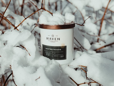 Haven | Winter Woods product product photography package design brand peppermint crisp snow winter scent woods flame candle package packaging branding logo design
