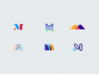 M Logos geometric logo design brand design bold minimal overlapping overlap m logo m brand branding logo design