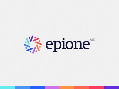 Epione MD people modern medicine med colorful color connection health care healthcare health geometric brand design bold minimal logo design simple brand branding logo design