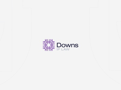 Downs IP Law | Brand Identity business card card business microchip square property intellectual lawyer law tech geometric abstract bold minimal simple brand branding logo design