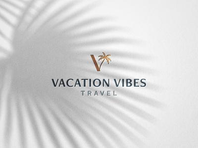 Vacation Vibes Travel | Brand Identity tropical tropic foil ocean palm tree tree palm resort travel elegant minimal logo design simple brand branding logo design