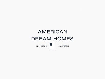 American Dream Homes   Brand Identity luxury elegant dream america american brokerage commercial corporate real estate homes home flag minimal logo design simple brand branding logo design